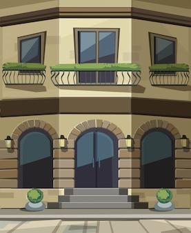 Sklep restauracja cafe front sklepu z dużymi oknami