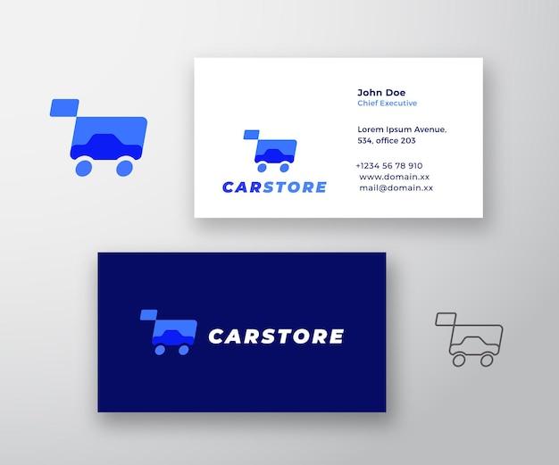 Sklep samochodowy streszczenie wektor znak lub logo i szablon wizytówki