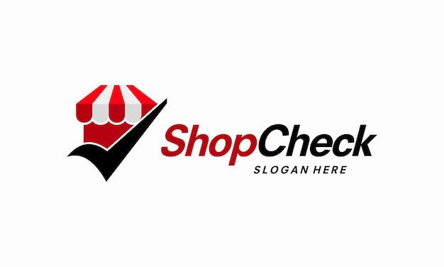 Sklep shop check wektor logo, szablon logo safe shop