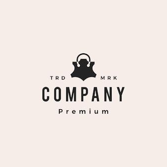 Sklep skórzany sklep hipster vintage logo wektor ikona ilustracja