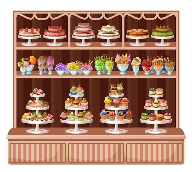 Sklep słodyczy i piekarni. ilustracji wektorowych