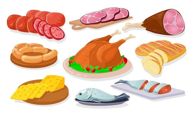 Sklep spożywczy asortyment sklep kiełbasa kiełbasa szynka kiełbasa parówki łosoś chleb ser drobiowy