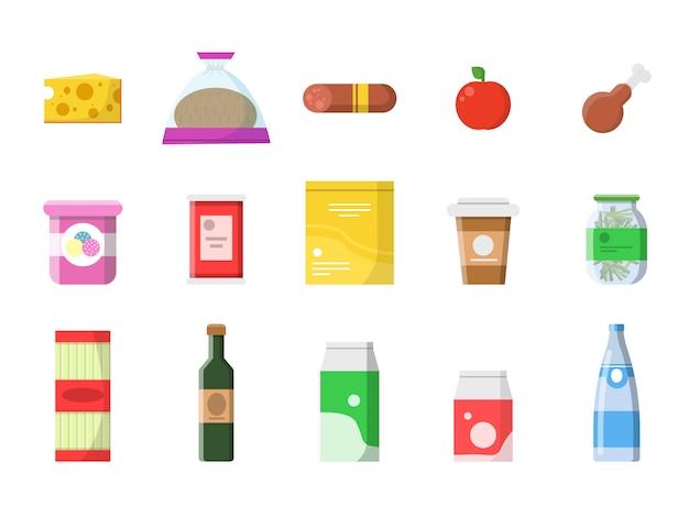 Sklep spożywczy. koszyk spożywczy z produktami kiełbasa mleko wino owocowe ser makaronowy płaskie zdjęcia na białym tle