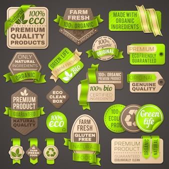 Sklep spożywczy organiczne znaki. etykiety opakowań supermarketów dla zdrowych świeżych warzyw.