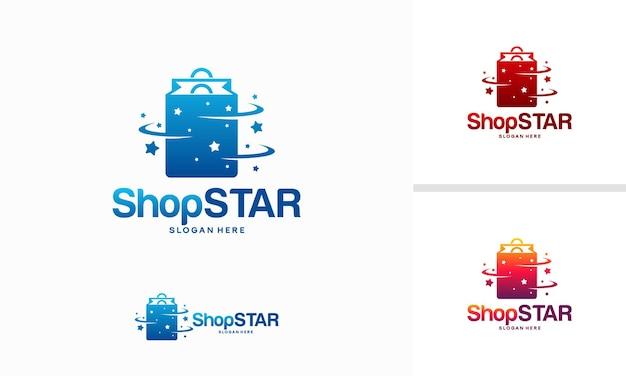 Sklep star logo projektuje koncepcję, wektor szablonu projektu logo koszyka na zakupy