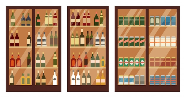 Sklep z alkoholem. półki