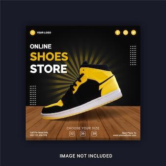 Sklep z butami online szablon banera w mediach społecznościowych na instagram