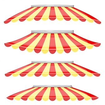 Sklep z czerwonymi i żółtymi pasami