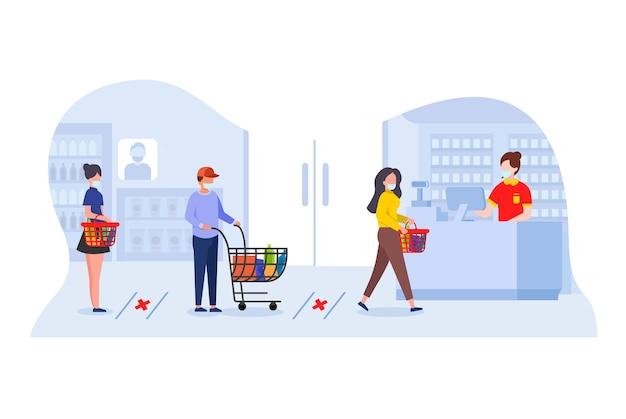 Sklep z dystansami społecznymi i maskami medycznymi. kolejka do zapłaty przy kasie. protokoły zdrowotne wśród kupujących w sklepach w celu zapobiegania rozprzestrzenianiu się covid-19.
