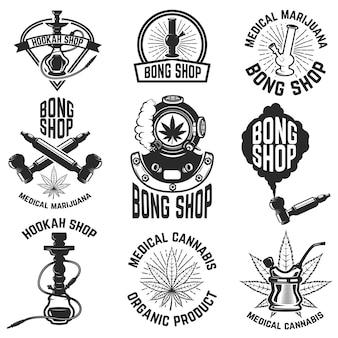 Sklep z fajką wodną. sklep bong. konopie indyjskie. obrazy do logo, etykiety, godła, znaku, plakatu. ilustracja.