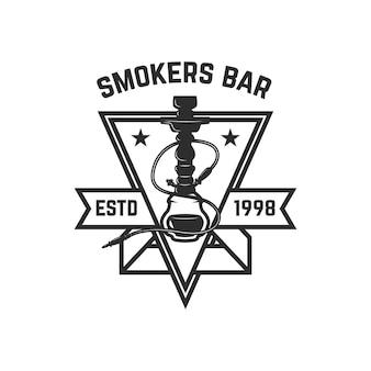 Sklep z fajkami wodnymi. szablon logo z fajką wodną.