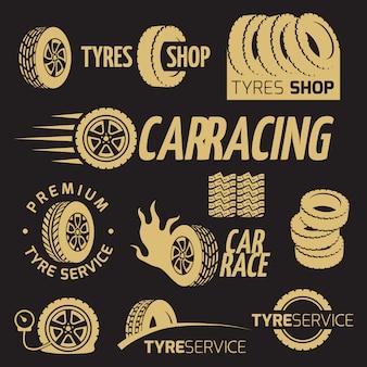 Sklep z gumowymi oponami samochodowymi, koło samochodowe, logo wyścigowe i zestaw etykiet