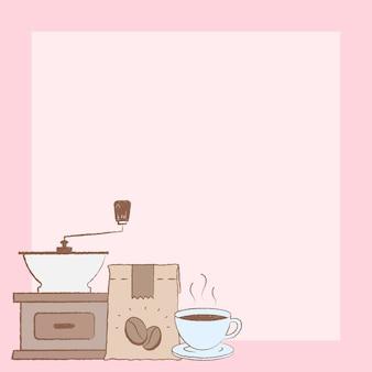 Sklep z kawą instagram post tło wektor
