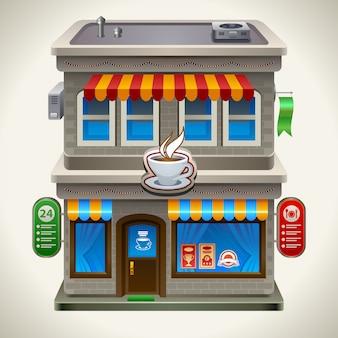 Sklep z kawą lub kawiarnią.