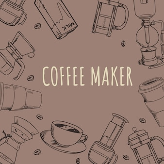 Sklep z kawą narzędzia ekspres do kawy doodle handdrawn