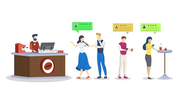 Sklep z kawą ocena semi rgb koloru ilustracja. opinie klientów, konsumentów.