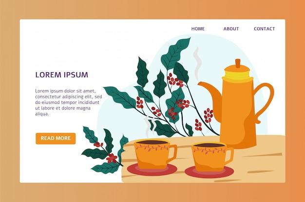 Sklep z kawą strony internetowej projekt, śliczny garnek i filiżanki w mieszkaniu, projektujemy, wektorowa ilustracja