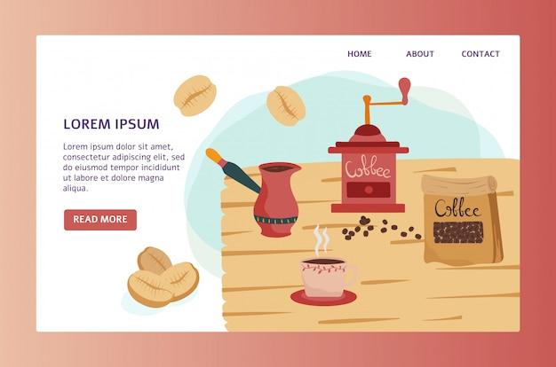 Sklep z kawą strony internetowej projekt, śliczny stary ostrzarz i filiżanka w mieszkaniu, projektujemy, wektorowa ilustracja