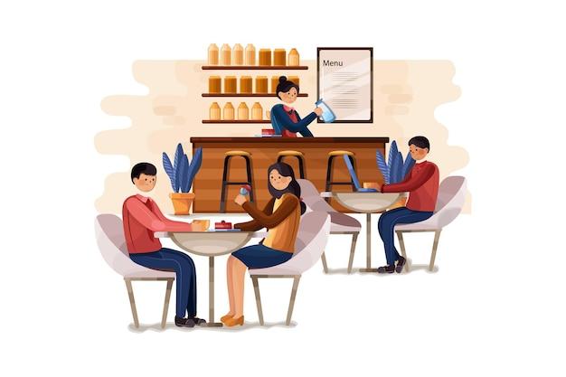 Sklep z kawiarnią i ludzie relaksujący ilustracja