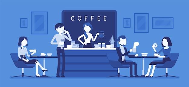 Sklep z kawiarnią i ludzie relaksujący. nowoczesne wnętrze miejsca do spotkań, picia i jedzenia, pogawędek, odpoczynku, spędzenia wolnego czasu, barista robi kawę publicznie. ilustracja z postaciami bez twarzy