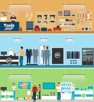 Sklep z narzędziami, sklep z elektroniką i baner sklepu z odzieżą męską z ludźmi robiącymi zakupy