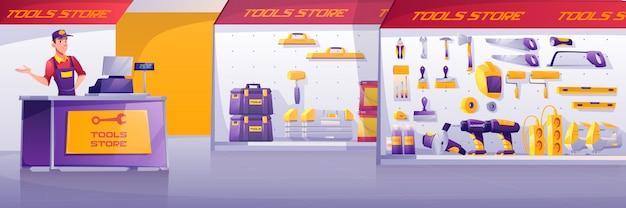 Sklep z narzędziami, wnętrze sklepu z konstrukcjami metalowymi