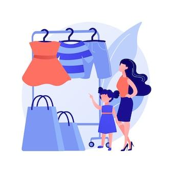 Sklep z odzieżą dziecięcą. odzież dziecięca, młodzieżowa, modna odzież. mała dziewczynka z torby na zakupy. kupujący butik z modą dziecięcą. ilustracja wektorowa na białym tle koncepcja metafora