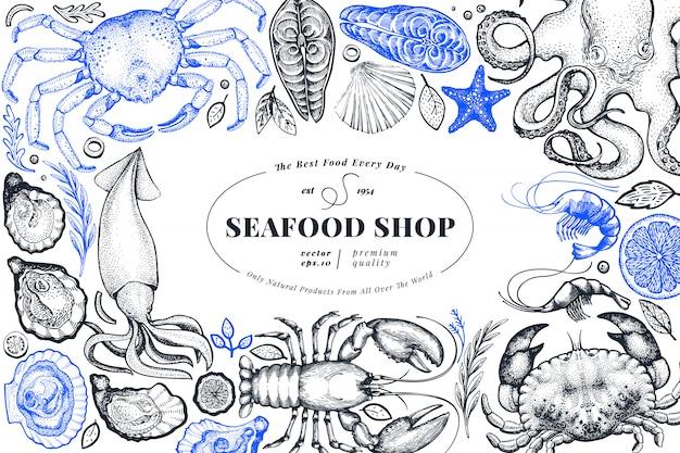 Sklep z owocami morza ręcznie rysowane szablon transparent.