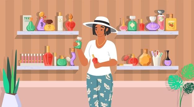 Sklep z perfumami. kobieta z butelkami perfum, płaska ilustracja. perfumeria, dom towarowy z produktami zapachowymi.