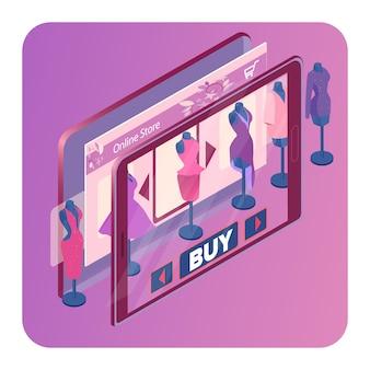 Sklep z ubraniami online izometryczny szablon transparentu