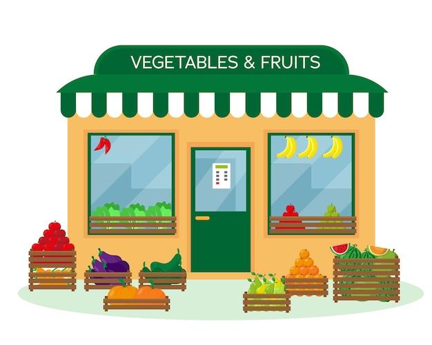 Sklep z warzywami i owocami na zewnątrz budynku
