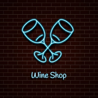 Sklep z winami neon niebieski znak świetlny