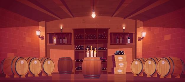 Sklep z winami, wnętrze piwnicy z drewnianymi beczkami, półki ze szklanymi butelkami, pudełka z produkcją i jarzeniówkami lub świecami. sklep z napojami alkoholowymi w piwnicy budynku. ilustracja kreskówka wektor