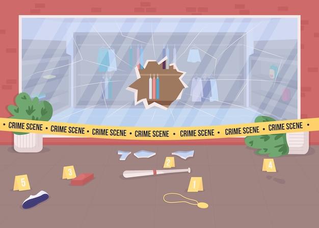 Sklep z włamaniem zbrodni płaski kolor ilustracja. zepsuta witryna sklepu. dowody zbrodni. obszar dochodzeń policyjnych. obszar zastrzeżony pejzaż miejski z kreskówek 2d z policyjną taśmą w tle