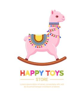 Sklep z zabawkami dla dzieci z różową lamą. kolorowa ilustracja bujana zabawka dla dzieci