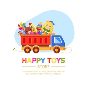 Sklep z zabawkami z ciężarówką. zestaw lalki, niedźwiedzia, śmigła wiatraka, rakiety i piramidy. kolekcja dla małych dzieci. ilustracja