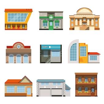 Sklep zestaw ikon budynków okna sklepowego