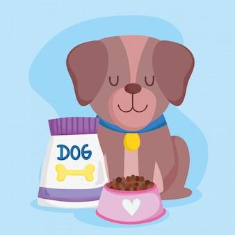 Sklep zoologiczny, brązowy pies siedzący z miską na karmę i paczką zwierząt domowych kreskówek