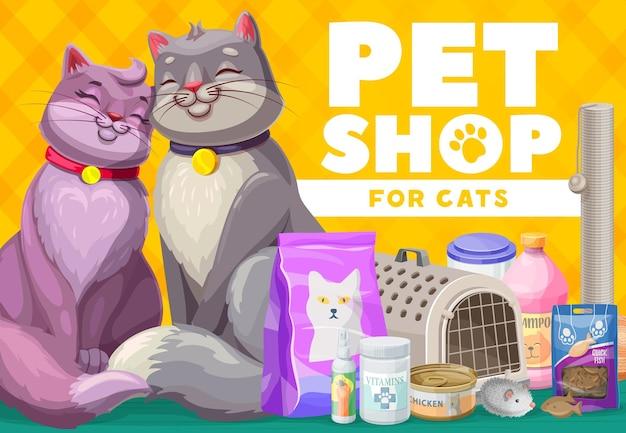 Sklep zoologiczny dla kotów i kociąt, plakat opieki nad zwierzętami
