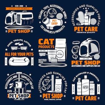 Sklep zoologiczny dostarcza na białym tle ikony, opieki nad zwierzętami kota