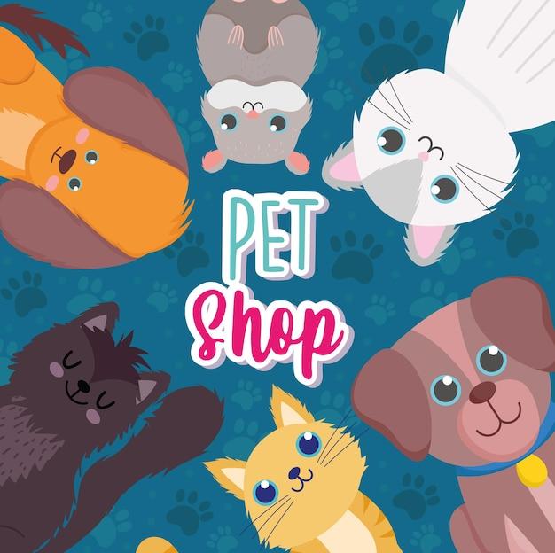 Sklep zoologiczny, małe psy koty chomik ilustracja kreskówka wektor