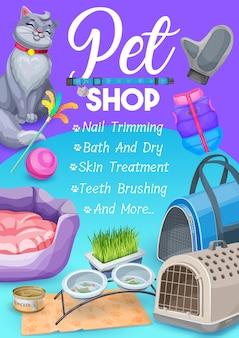 Sklep zoologiczny, plakat z artykułami do pielęgnacji kota z kotkiem i produktami do pielęgnacji i karmienia
