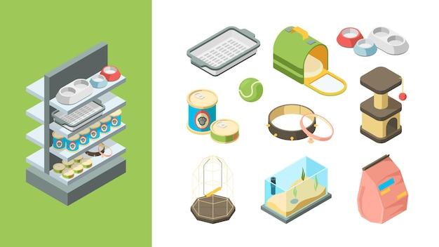 Sklep zoologiczny. produkty dla zwierząt piłki zabawki jedzenie psy koty ryby przedmioty wektor kolekcja izometryczna