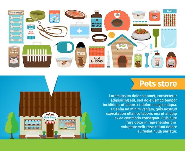 Sklep zoologiczny. sklep z akcesoriami dla zwierząt i weterynarzem. szczypce i talerz, szampon i strzykawka, smycz i jedzenie