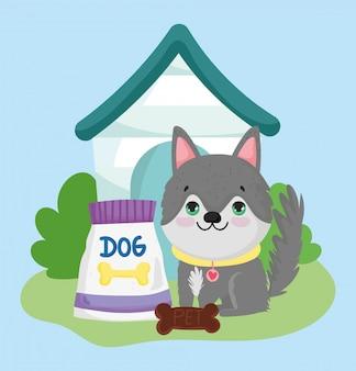 Sklep zoologiczny, słodki szczeniak siedzi z jedzeniem i domową kreskówką zwierząt domowych