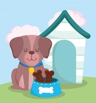 Sklep zoologiczny, uroczy pies siedzący z karmą dla obroży i domowe zwierzę domowe kreskówka