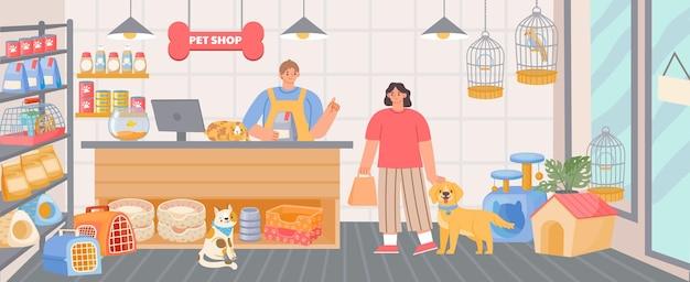 Sklep zoologiczny wewnątrz wnętrza z kasjerem i klientem z psem. karma dla zwierząt, akcesoria i zabawki w sklepie. kreskówka zoo supermarket wektor scena. klient kupujący karmę dla zwierząt domowych