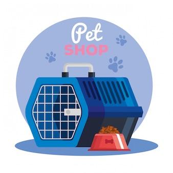 Sklep zoologiczny z pudłem do transportu zwierząt z potrawami