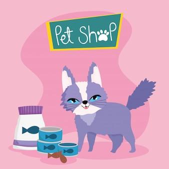 Sklep zoologiczny, zabawny kot z puszką na ryby i ciasteczkami zwierzę domowe kreskówka