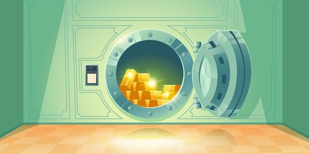 Sklepienie bankowe z otwartymi drzwiami sejfu